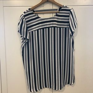 Striped short sleeve blouse